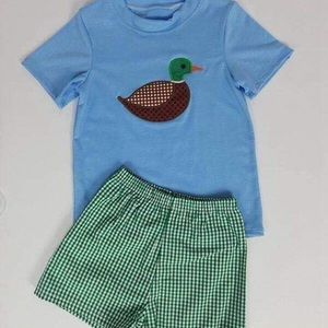 Duck Appliqué Shirt with Gingham Shorts